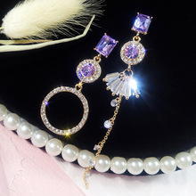 Cold wind asymmetrical  ring earrings female Korean ornaments long tassel earings fashion jewelry