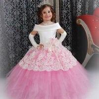 Magnífico satén blanco personalizado Rosa puffy niño vestido de bola Niñas frock diseños abiti da Comunione vintage Encaje Vestidos de flores de niña
