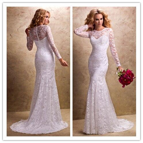 Free Shipping We 1394 Elegant Sheer Long Sleeve Lace Wedding Dresses Full