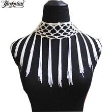 YACKALASI 5 מטרים/הרבה קשר פרינג טאסל קשר עניבת זמירה זהורית לטיני שמלת מקרמה חלב לבן 15 cm  28 cmfringe tassel5 yardknotted fringe