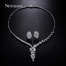 NEWBARK Wedding Jewelry Set Bridal Necklace Flower Stud Earring Crystal Choker Statement Necklace Bridesmaid Sets Christmas