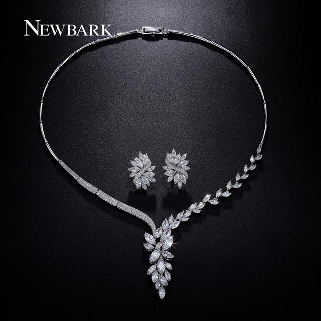 Conjunto de jóias de casamento colar de noiva newbark flor brinco do parafuso prisioneiro de cristal choker declaração colar da dama de honra define natal