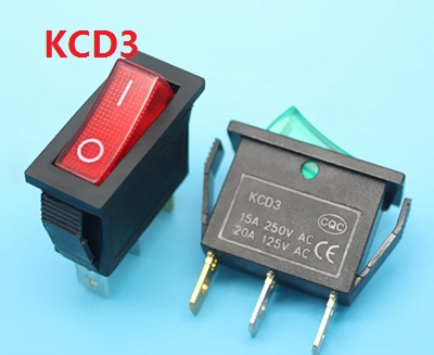 KCD3 LY604-BA1 red greenAC swicths 3 pin 2 position on off electrical rocker switch for electronic equipment 15A 20A