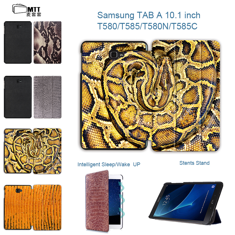 MTT Snake Skin T580 T585 Cover, Slim Magnetic Folding Flip PU Case Cover for Samsung Galaxy Tab A A6 10.1 2016 T585C T580N Case