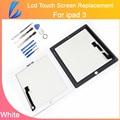 Ll comerciante branco testado qualidade aaa substituição para ipad 3 ou ipad 4 digitador da tela de toque de vidro + ferramentas adhensive livre + navio