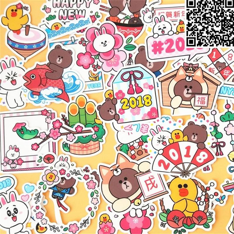 Купить с кэшбэком 36 Pcs  cartoon Cute bear Sticker For Luggage Skateboard Phone Laptop Moto Bicycle Wall Guitar Stickers/DIY Scrapbooking