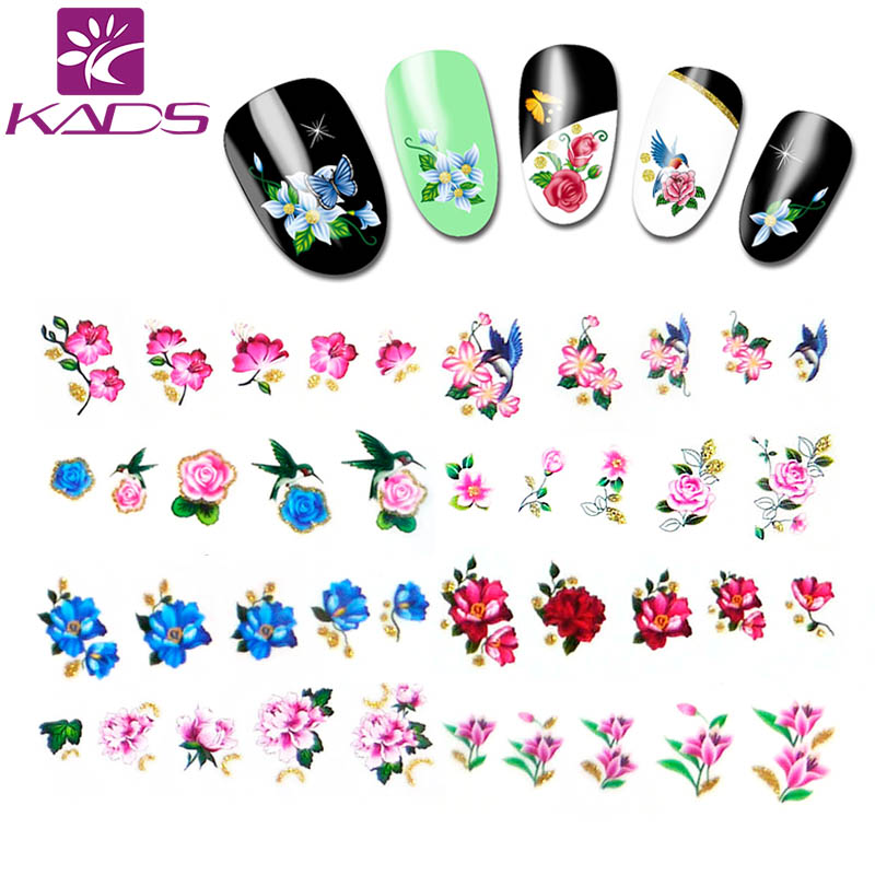 KADS 11vel / set BJC177-198 Water Decal Nail Stickers Bloem ontwerp - Nagel kunst