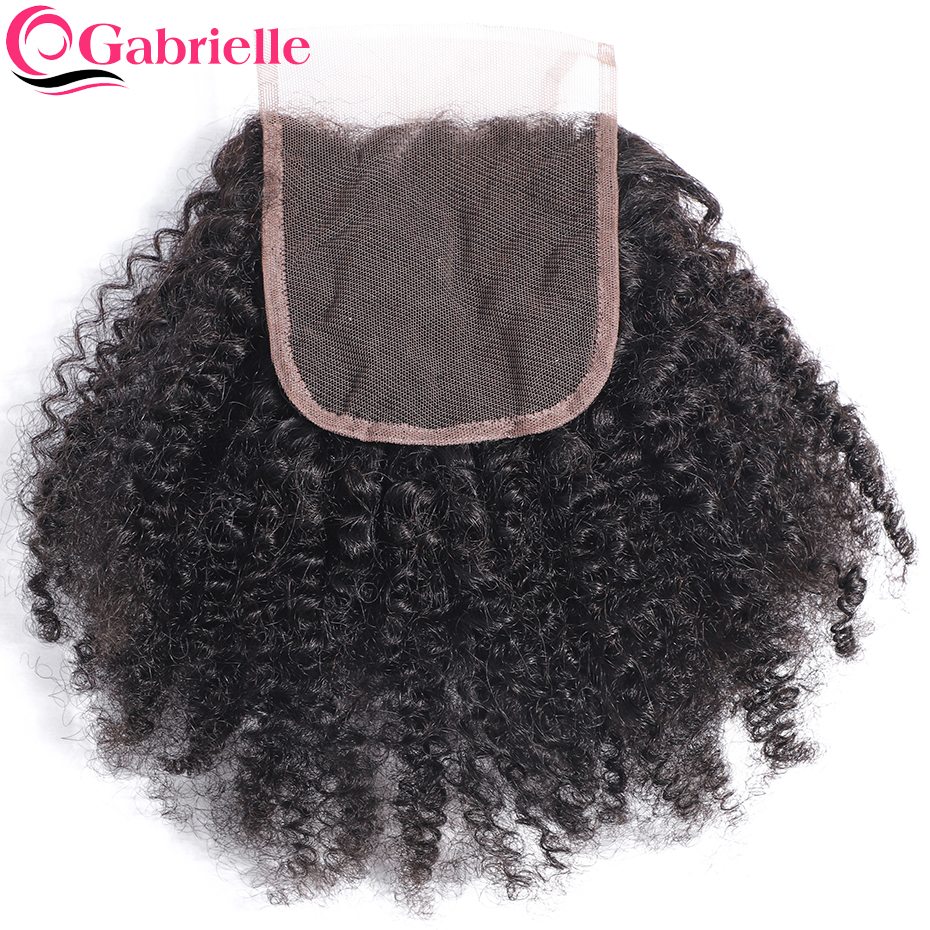 Gabrielle Weave Hair-Closure Remy-Hair Curly Kinky Natural-Color Brazilian Afro 10-18inch