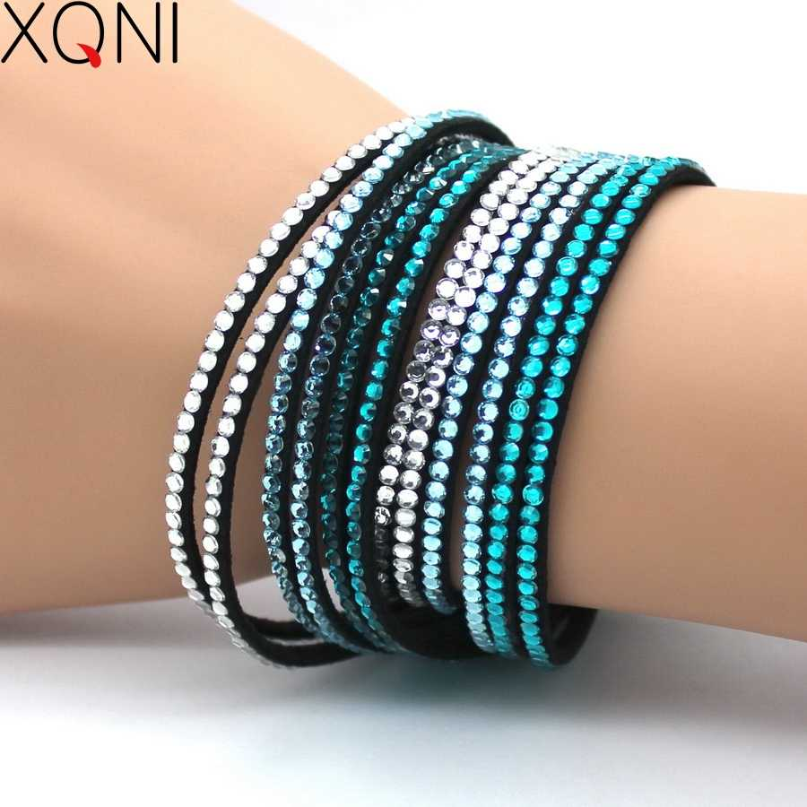 2017 New Fashion Wedding Jewelry Crystal Leather Bracelets For Men Women Trendy Mosaic Brand Rhinestone Classic Charm Bracelets.