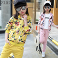 2017 Girls Spring Flowers Suit Girls Clothes Sprot Hoodies Set Children Clothing Suits Hooded jackets+ Pants 2pc Suits YL561
