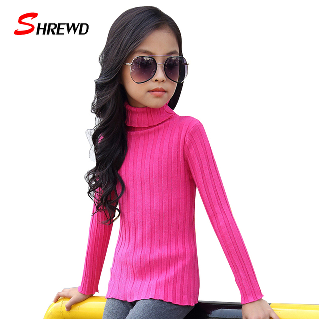Girls Knitted Sweater 2017 Spring New Casual Vertical Stripes Sweater For Kids Girls Long Sleeve Simple Children Clothing 4735W