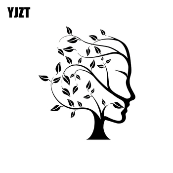YJZT 11.1*13CM Tree Nature Abstract Woman Face Vinyl Car Sticker Decals Black/Silver Motorcycle C20-0094