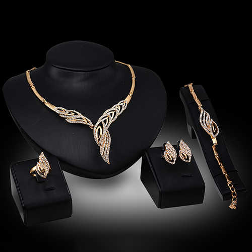 Wedding Bridal Party Wavy Rhinestone Choker Necklace Bracelet Ring Earrings Set A8CU