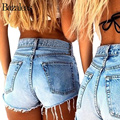 Bazaleas Summer Sexy Stretch Denim Shorts Tassel Casual Button Bottom Cotton Short Jeans