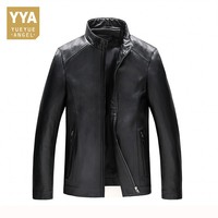 Mens Spring Autumn Motorcycle Jacket Black Male Biker Jacket Genuine Leather For Big Men Office Zip Sheepskin Coat Plus Size 4XL