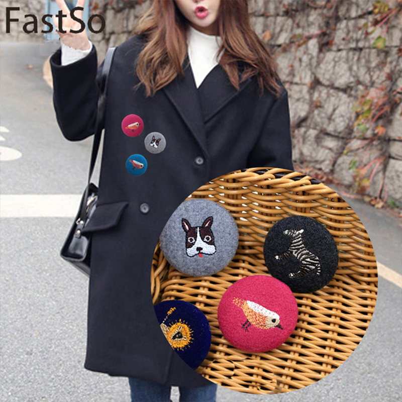Fastso 1pcs Simple Atmospheric Bag Cloth Korean Women Sweater Coat Brooch Corsage Round Pin Clothing Accessories 3*3cm XZ19