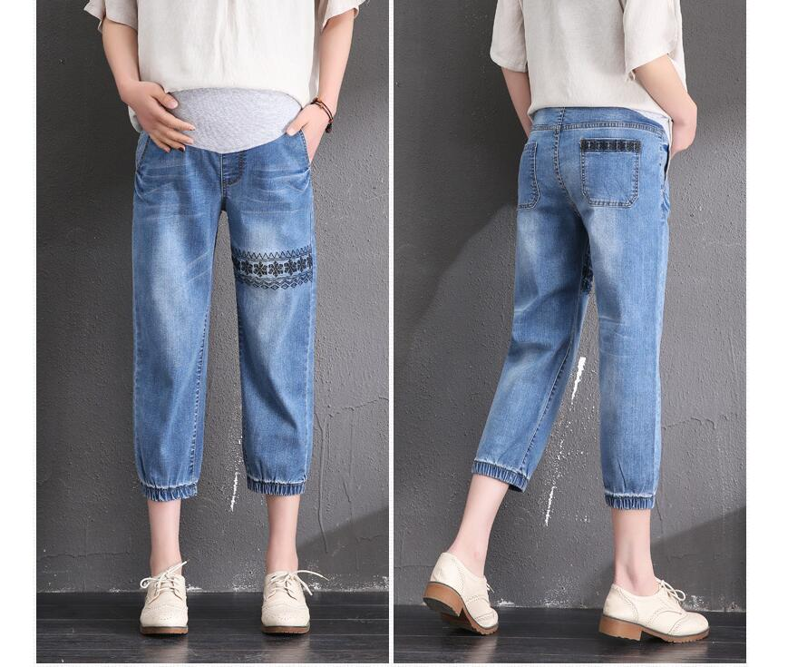 2019 Summer Maternity Jeans Capris pregnant jeans winter women pencil pants Pregnancy clothing 5XL size high waist trousers