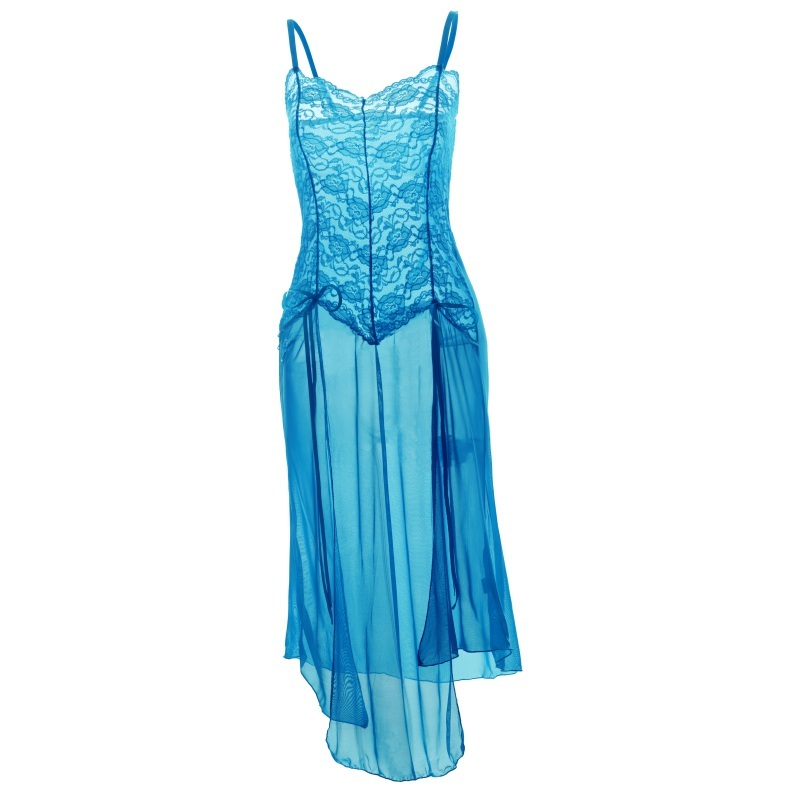 Plus Size 5XL Women   Nightgowns   Female   Sleepshirts   2018 Lace Sexy Sleeveless Spaghetti Strap Long Robe Bathrobe Spa Gown Set