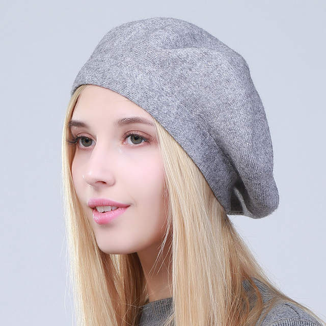 8a810a2a7 US $8.99 40% OFF Geebro Women's French Beret Hat Spring Causal Plain Black  Knit Wool Berets for Ladies Knitted Artist Beret Cap Hats For Woman-in ...