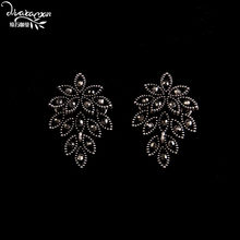 Dvacaman Brand ZA Fashion Big Flower Statement Earrings Black Rhinestone Hanging Earrings Vintage Maxi Drop Earrings Jewelry P80(China)