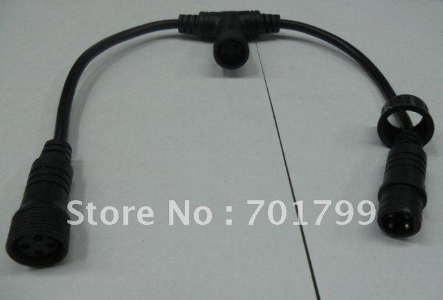 4core  waterproof T type splitter;black color: the male connect's diameter:15mm