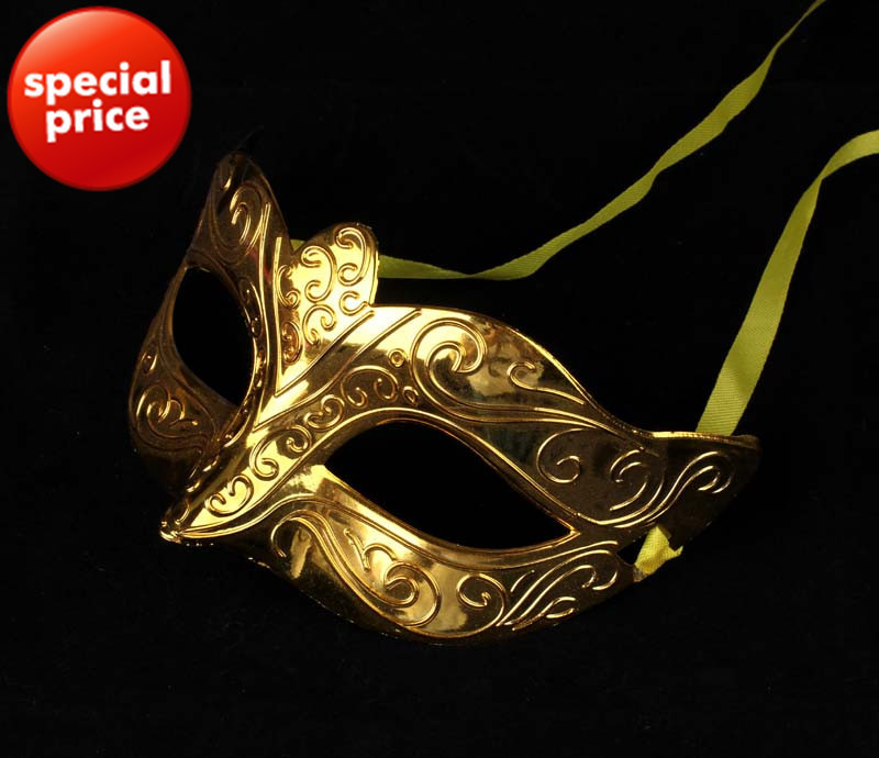 on sale party mask gold plating handmake carnival costume Venetian Masquerade ball decoration free shipping 100pcs/lot mix color