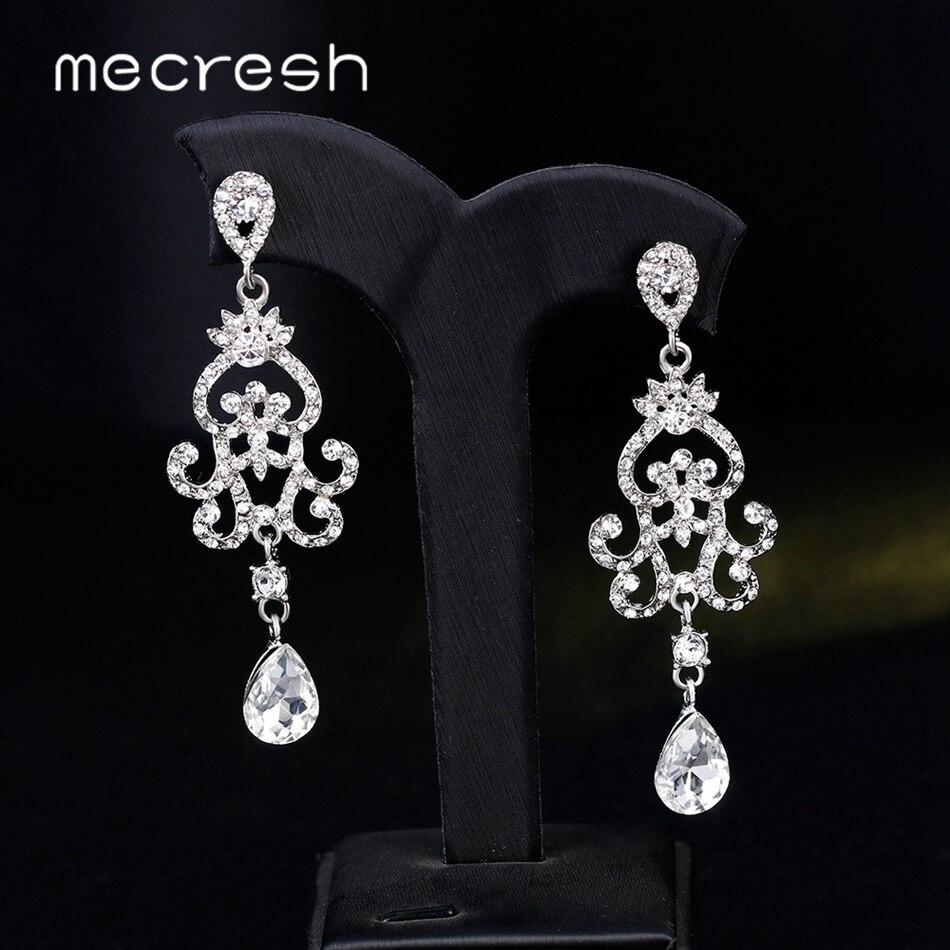 Mecresh Cor Prata Cristal Wedding Brincos para Noivas Moda Rhinestone Nupcial Lustre Brincos Longos Oscile MEH1509