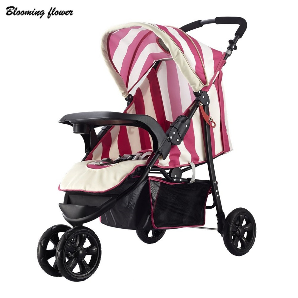 Baby Stroller Light Weight Three Big Rubber Wheels Foldable Portable Stroller With Umbrella Canopy 30KG Baby Traveling Stroller