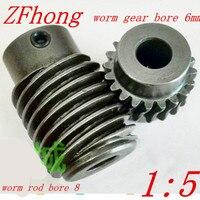 1M-20Teeths oranı: 1: 5 Elektrik Motorları çelik Sonsuz Dişli Çubuk Set sonsuz dişli delik 6mm, çubuk delik 8mm