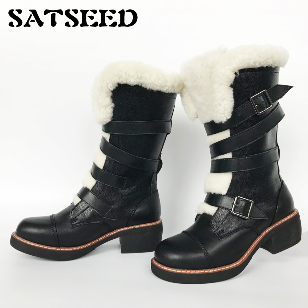 NEW Warm Winter Women Shoes Martin Boots Genuine Leather with Bandage Wool Middle Square Heel Mid-calf Boots Neutral Style 2018 new vintage mid calf women boots square thick high heels pointed toe martin boots genuine leather winter shoes for women