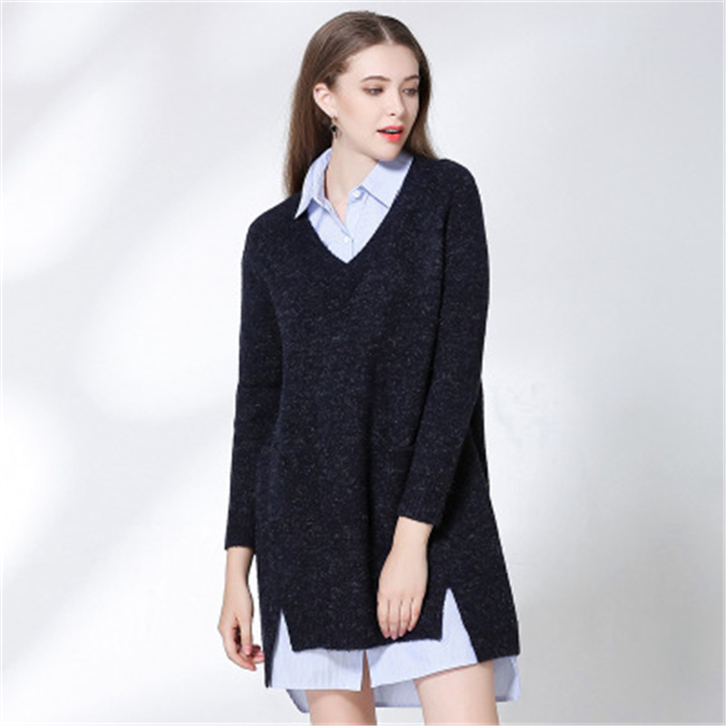 DoreenBow New Fashion Women Autumn Knitted Dress Female Solid Color Deep Grey V Neck Sweater Dress Loose Casual Chic OL Style new 2017 hats for women mix color cotton unisex men winter women fashion hip hop knitted warm hat female beanies cap6a03