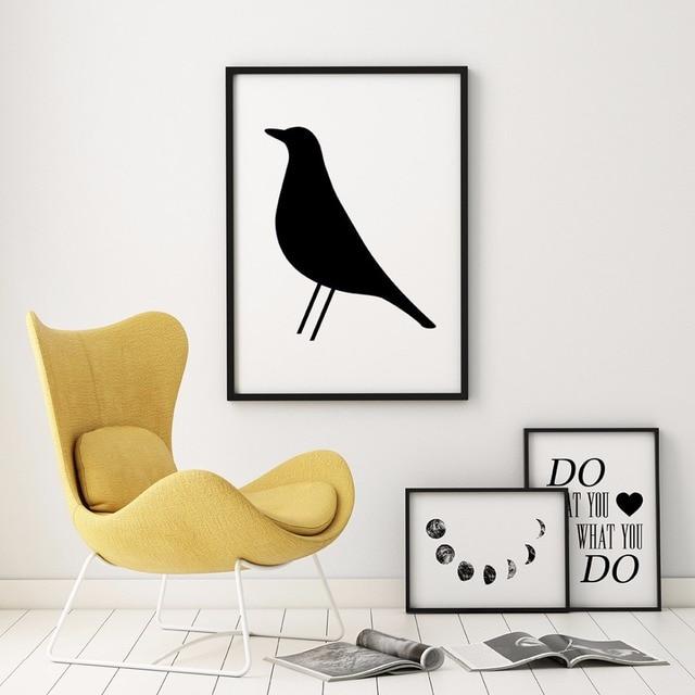 Eames Bird Nordic Scandinavian Poster Printable Modern Wall Black