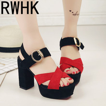 RWHK 2019 summer new high-heeled fish mouth word buckle with women's sandals thick with color matching fashion sandals B242 цена 2017