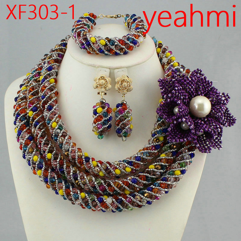 Amazing African Beads Jewelry Set Crystal Beads Necklace Set Nigerian Wedding African Jewelry Set Crystal Jewelry Set XF303-2
