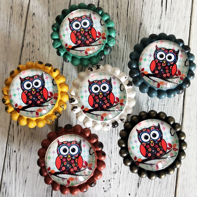 1x Vintage Owl Drawer Knobs Pulls Handles / Kitchen Cabinet Handle / Antique Dresser Drawer Knobs furniture hardwar glass dresser knobs drawer knobs pulls handles clear gold crystal cabinet knobs kitchen knob handle pull furniture hardware