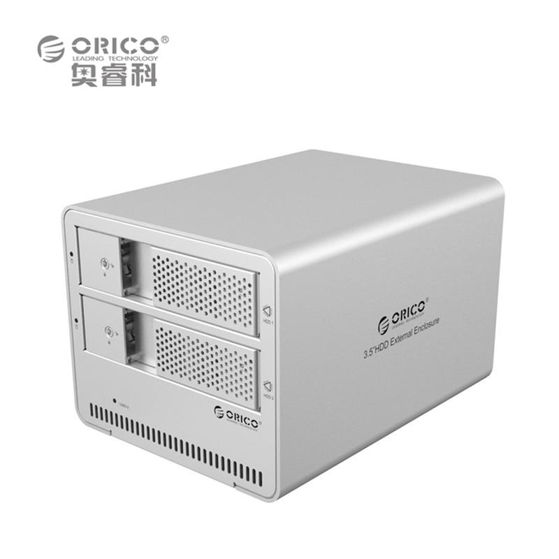 ORICO 9528U3 2-bay USB3.0 Aluminum 3.5 External SATA HDD SSD Enclosure Sliver Box Support 8TB Storage EU Plug (No Hard Disk)