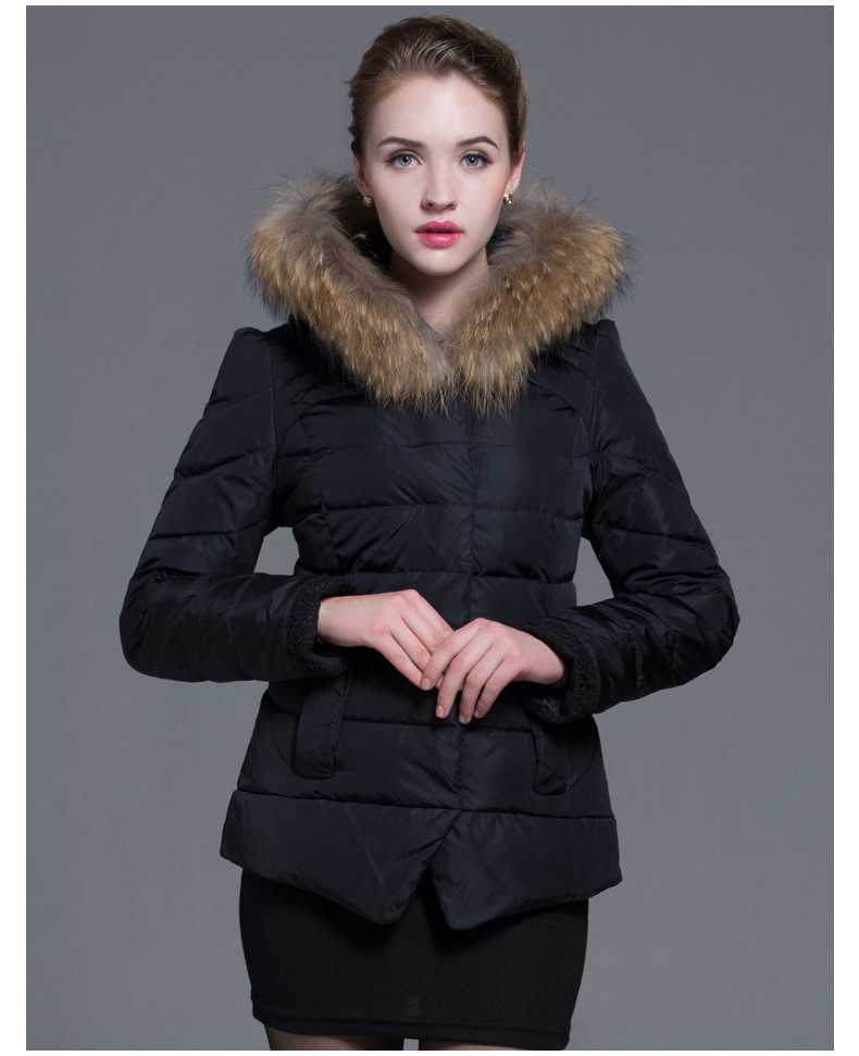New 2015 Winter High Quality 100% Raccoon Fur Collar Fashion Casual Clothes Jackets Women Coat Female Warm Clothing H4655 2017 winter new clothes to overcome the coat of women in the long reed rabbit hair fur fur coat fox raccoon fur collar