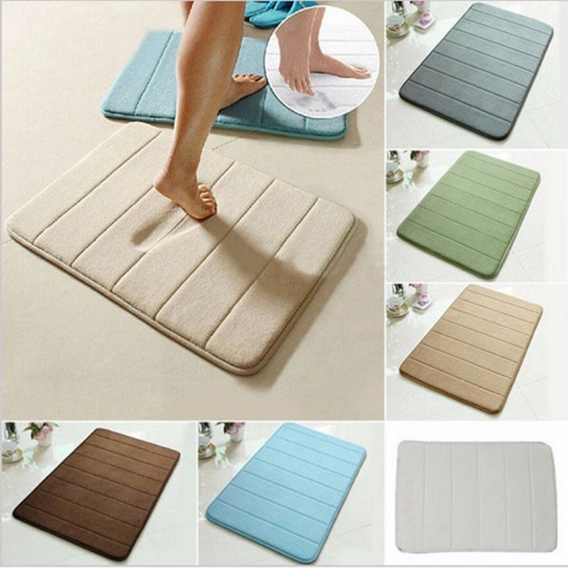 2 Sizes Bath Mat Bathroom Carpet Memory Foam Bathroom Mat Water Absorption Rug Kitchen Door Floor Mat Carpet For Toilet Non Slip