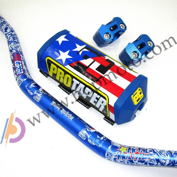"Prix pour NOUVEAU Pro Taper Plaquettes avec Fat Bar 1-1/8 ""Metal Mulisha Pack Pit Bike Motocross Fat Bar MX Guidon De Course FREESHIPPING Bleu"