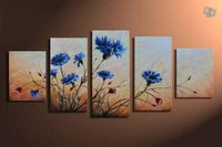 100% Hand Painted Dancing Purple Dandelions Abstract Landscape Wall Oil Painting On Canvas 5pcs/set No Framed Home Decoration
