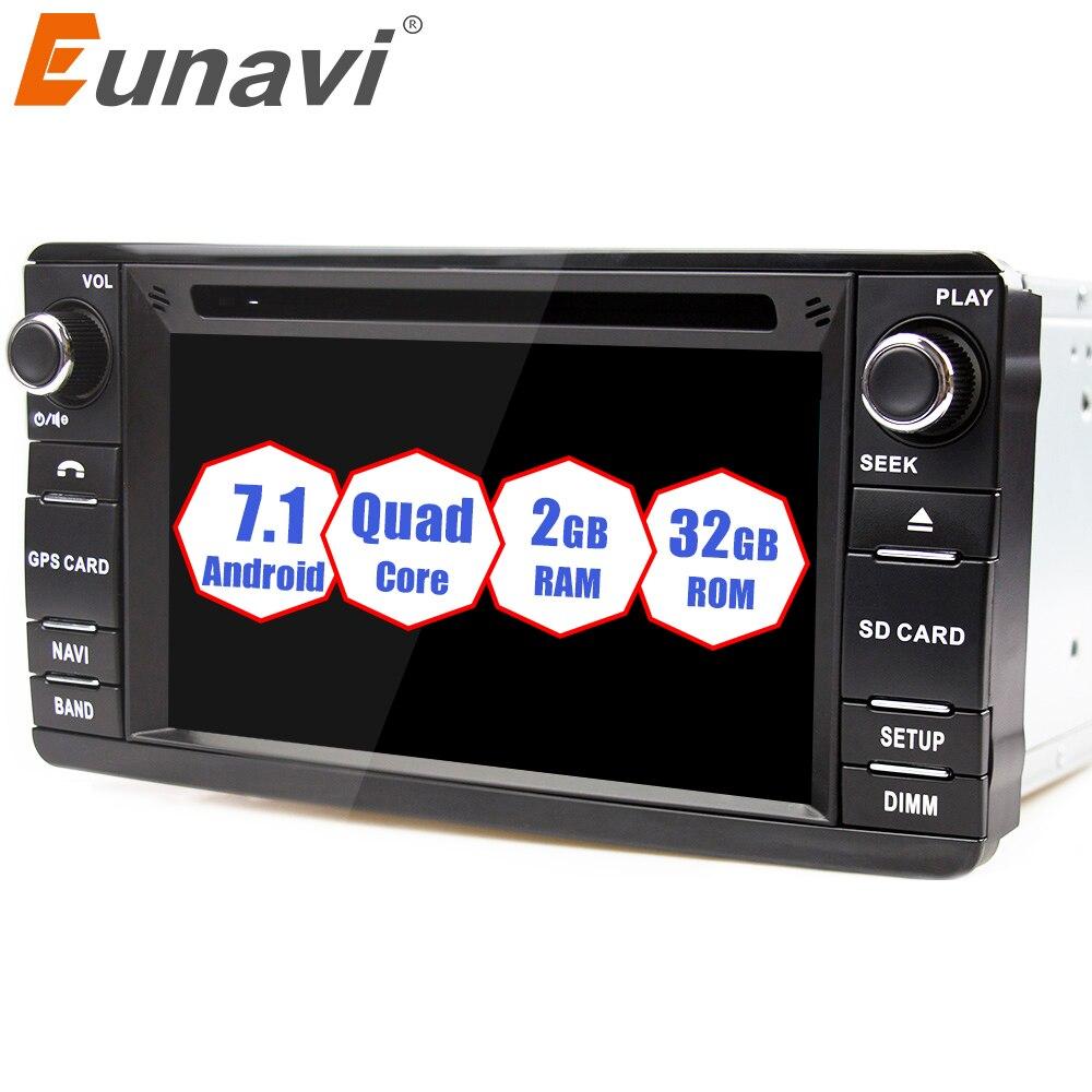 Eunavi Android 7.1 2 Din Voiture Lecteur DVD Pour Mitsubishi Outlander 2013-2016 Pajero 2din Radio Stéréo GPS de Navigation avec Wifi BT