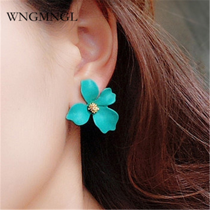 Wngmngl 2018 Korean Fashion Stud Earrings Romantic Cute Statement Pink Yellow Green Color Flower Earrings For Women Jewelry Gift Punctual Timing Earrings Jewelry & Accessories