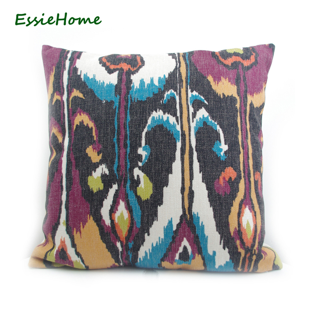 Essie Home High End Hand Print Purple Ikat Pattern Pillow Case