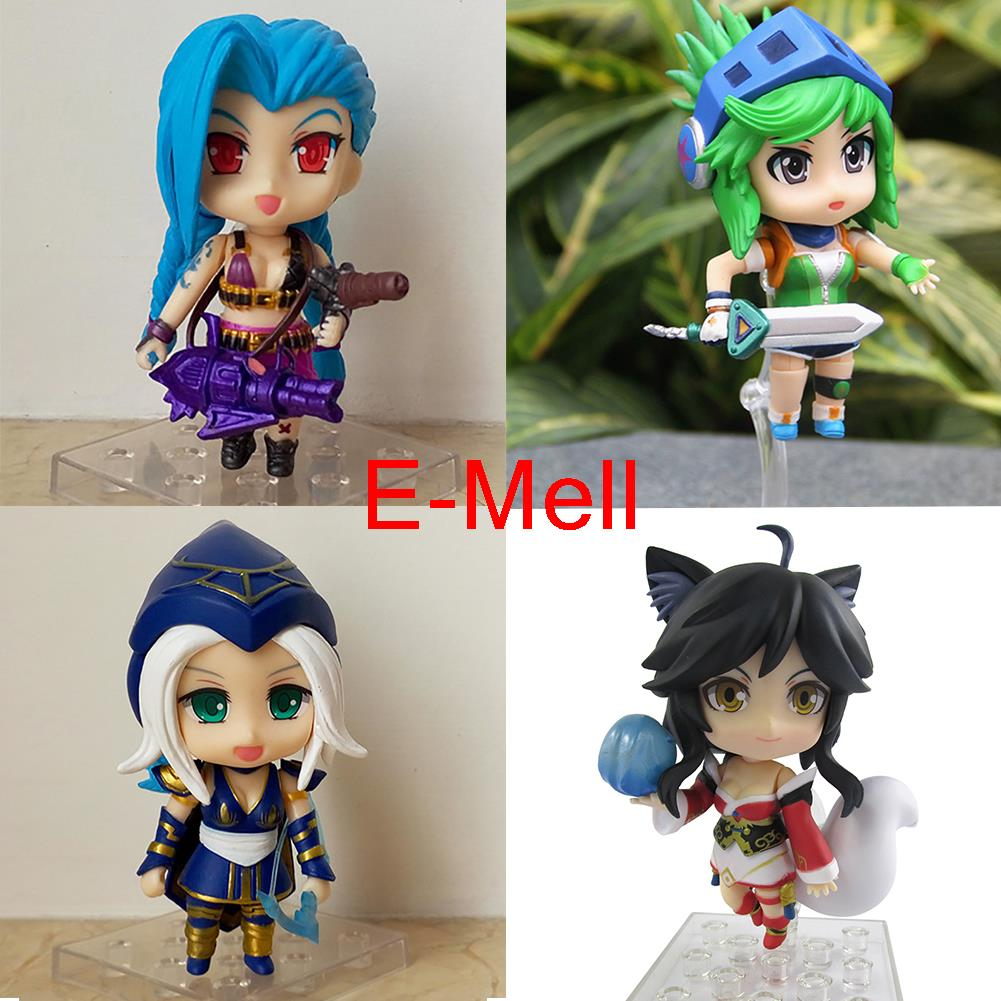 Cosplay LOL Jinx Riven Ashe Ahri The Frost Archer 9cm/3.54'' Change face Q Version PVC GK Model Action Figures Toys Garage Kits english world workbook level 9 cd
