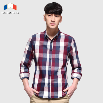 100% Cotton Long Sleeve Plaid Flannel Men Shirt 1