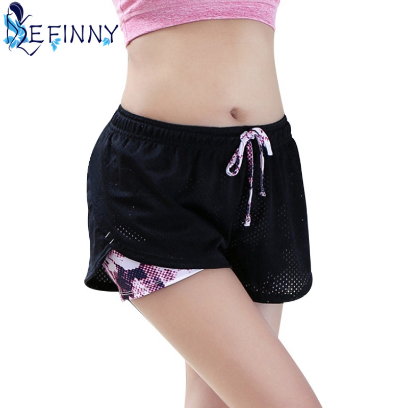 New Women Cotton Mesh Quick Dry Short Pants Breathable Work-out Two Layer Fitness Fold Short Pants Cool Wear Drawstring Clothing