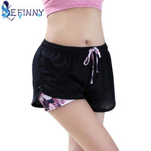 New Women Cotton Mesh Quick Dry Short Pants Breathable Work-out Two Layer Fitness Fold Short Pants Cool Wear Drawstring Clothing(China)
