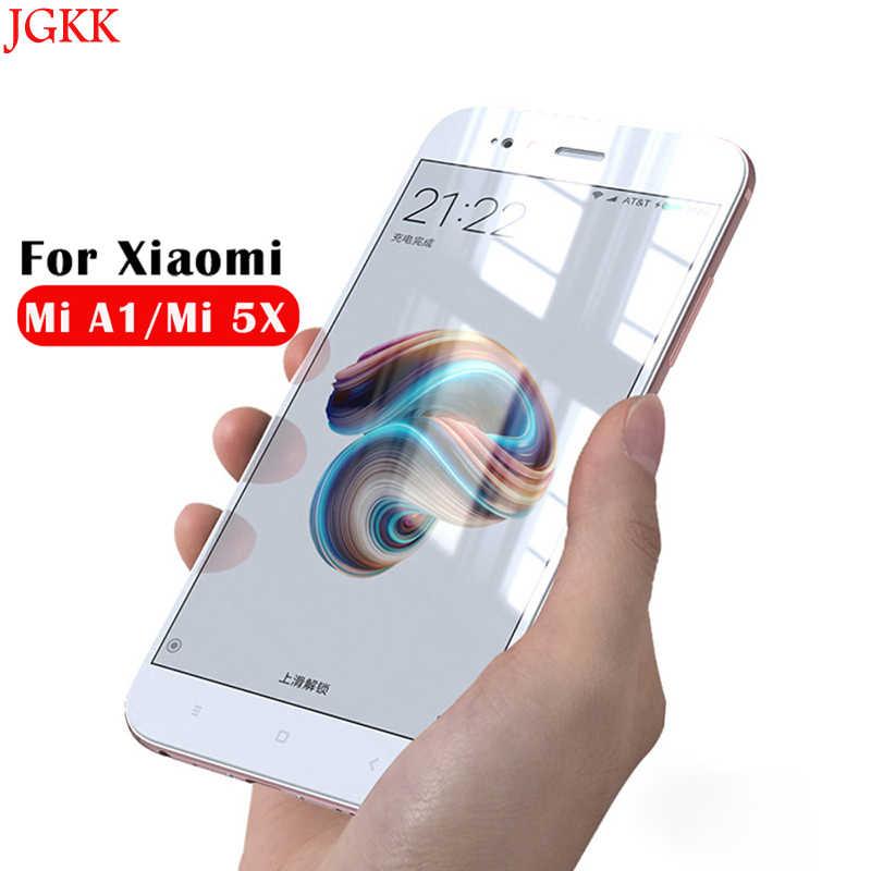 Jgkk ل xiaomi mi a1 المقسى حامي الشاشة hd واضح التغطية الكاملة الزجاج ل شياو ميل a1 5x4 gb 64 جيجابايت 5.5 بوصة