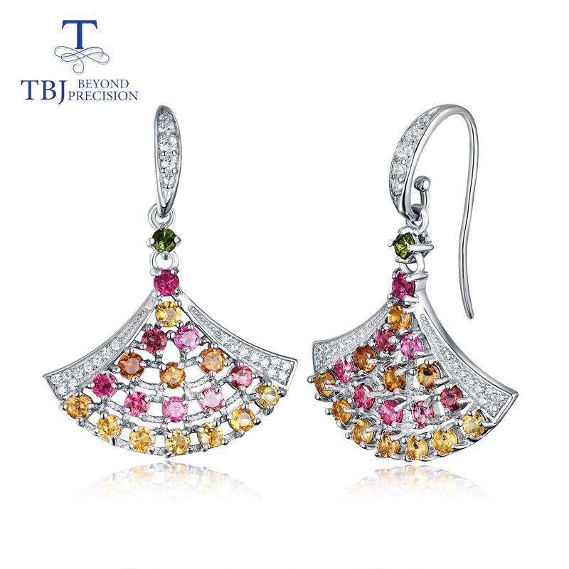 TBJ natural multi color tourmaline small Skirts hook earring 925 sterling silver fine jewelry for women