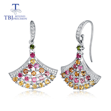 цена на TBJ,natural multi-color tourmaline small Skirts hook earring 925 sterling silver fine jewelry for women and girl birthday gift